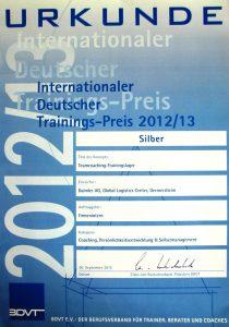 Auszeichnungen | Internationaler Deutscher Trainingspreis 2012: Auszeichnung in Silber